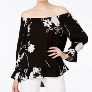 INC Black Embroidered Off Shoulder Ruffle Blouse M